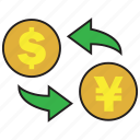 bank, conversion, dollar, exchange, payment, rate, yen icon