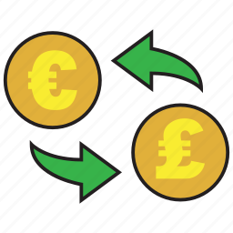 cash, conversion, euro, exchange, finance, pound, rate icon