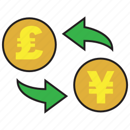 banking, conversion, currency, exchange, pound, rate, yen icon