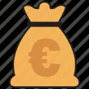 euro, bag, cash, currency, finance, money