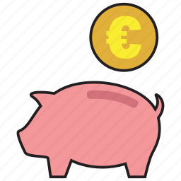 cash, coin, currency, euro, pig, saving, savings icon