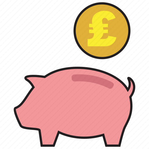 bank, coin, currency, pig, pound, saving, savings icon