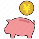 bank, currency, finance, pig, saving, savings, yen icon