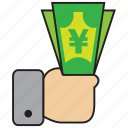 cash, commerce, currency, finance, shop, yen icon