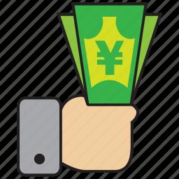 cash, commerce, currency, finance, shop, yen icon