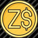 coin, currency, dollar, money, zimbabwe dollar