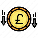 decrease, loss, pound, sterling, money, currency