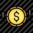 profit, dollar, money, increase, up, arrow
