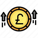 profit, pound, sterling, money, increase, up, arrow