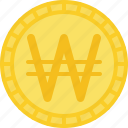 coin, currency, korea won, money, won