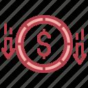 decrease, loss, currency, money, dollar