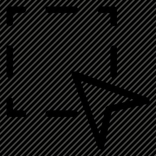 area, arrow, cursor, navigation, pointer icon