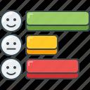 bar, graph, smiley, chart, stats, horizontal, data icon