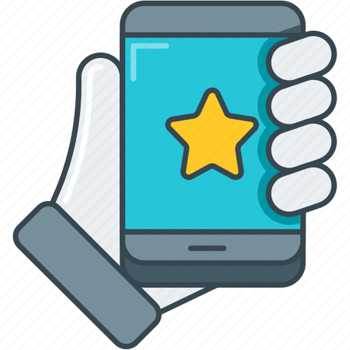 app, favorite, hand, rate, rating, smartphone, star icon