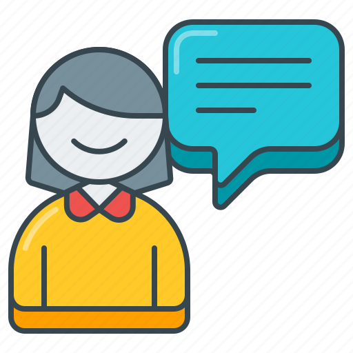 comment, customer, feedback, female, review, testimonial, woman icon