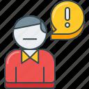 error, issue, man, person, problem, report, user