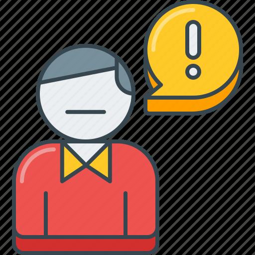 error, issue, man, person, problem, report, user icon