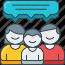 bubble, dialog, family, feedback, review, speech, testimonial