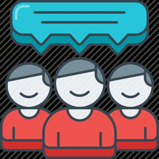 bubble, dialog, feedback, group, review, speech, testimonial icon