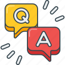 answer, discussion, q&a, question, question and answer, session, speech bubble icon