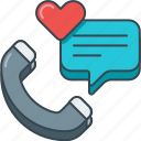 conversation, heart, love, phone, speech bubble, survey icon