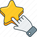 click, favorite, gesture, hand, please, press, rate, star icon