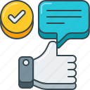check, feedback, hand gesture, positive, thumbs up icon