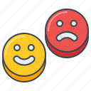 emoji, happy, sad, satisfaction, satisfied, smiley icon