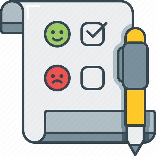 emoji, frown, pen, questionnaire, smile, smiley, survey icon