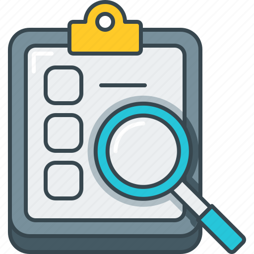 document, find, magnify, search, survey, zoom icon