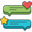 comment, heart, popular, rating, speech bubble, star, testimonial icon