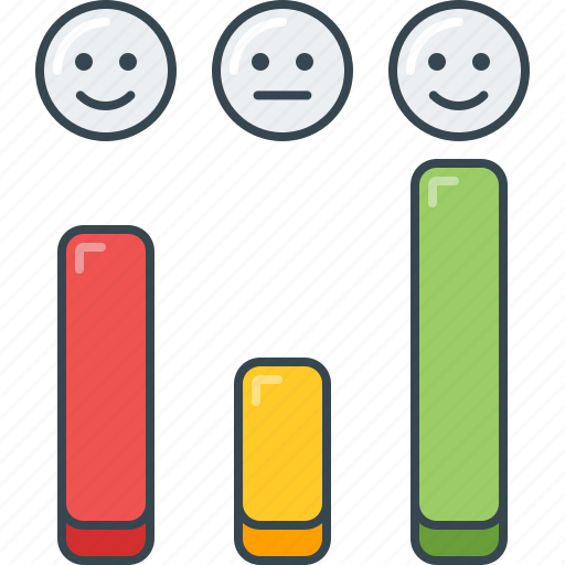 bar, chart, graph, level, satisfaction, smiley, vertical icon