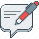 bubble, comment, pen, review, speech, write icon