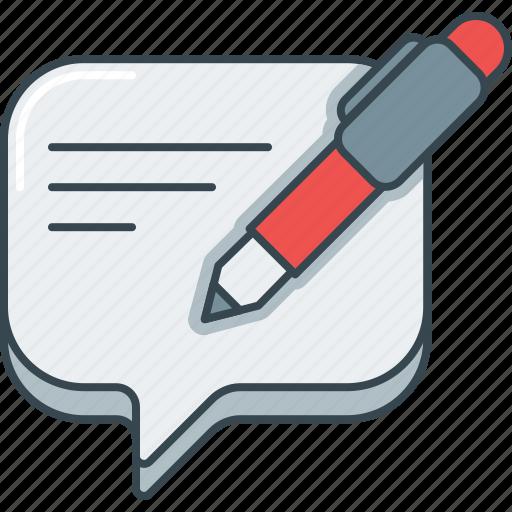 bubble, comment, pen, review, speech, write icon