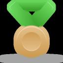 bronze, green, metal icon