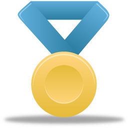 award, blue, gold, medal, metal icon
