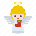 angel, christmas, holly, sock icon