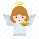 angel, candle, heaven, holly, wings, xmas icon