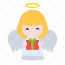 angel, gift, heaven, wings, xmas icon