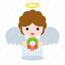 angel, heaven, wings, wreath, xmas