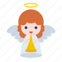 trumpet, christmas, angel, wing