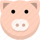 animal, avatar, emotion, face, pig icon