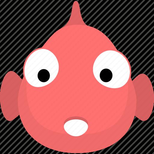 animal, avatar, emotion, face, fish icon