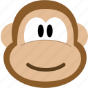 animal, avatar, emotion, face, monkey icon