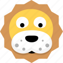 animal, avatar, emotion, face, lion icon