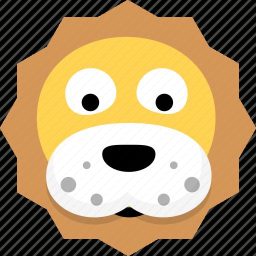 animal, avatar, emotion, face, lion icon