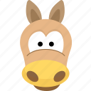 animal, avatar, emotion, face, horse icon