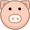 animal, avatar, emotion, pig icon