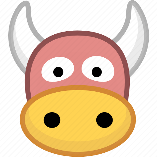 animal, avatar, cow, emotion icon
