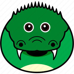 alligator, animal, croc, crocodile, cute, face, head icon